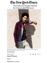The NEW YORK TIMES - The California Designer Behind the Unisex Label Phlemuns