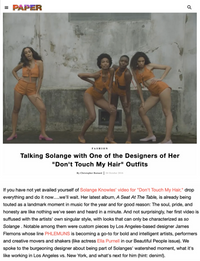 PAPER - Talking Solange with One of the Designers of Her
