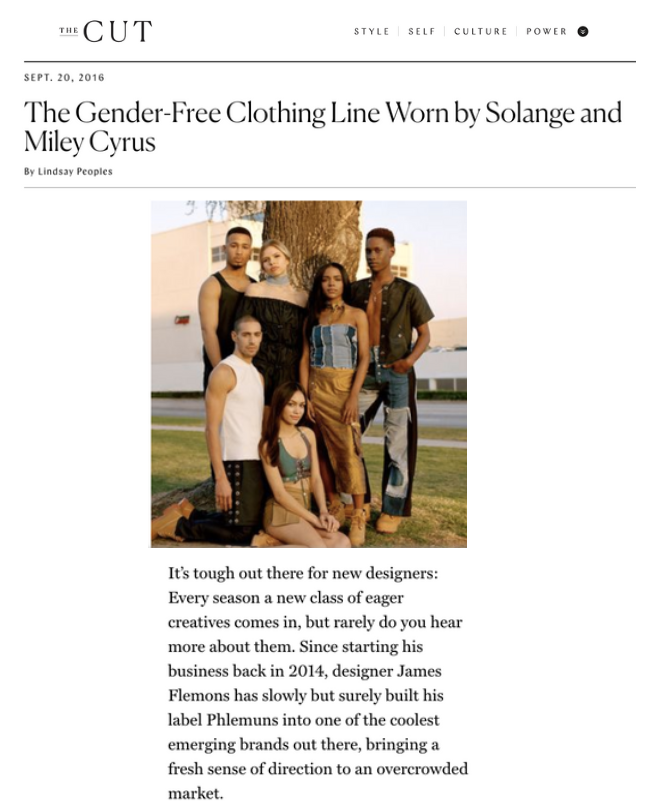 The Cut - The Gender-Free Clothing Line Worn by Solange and Miley Cyrus