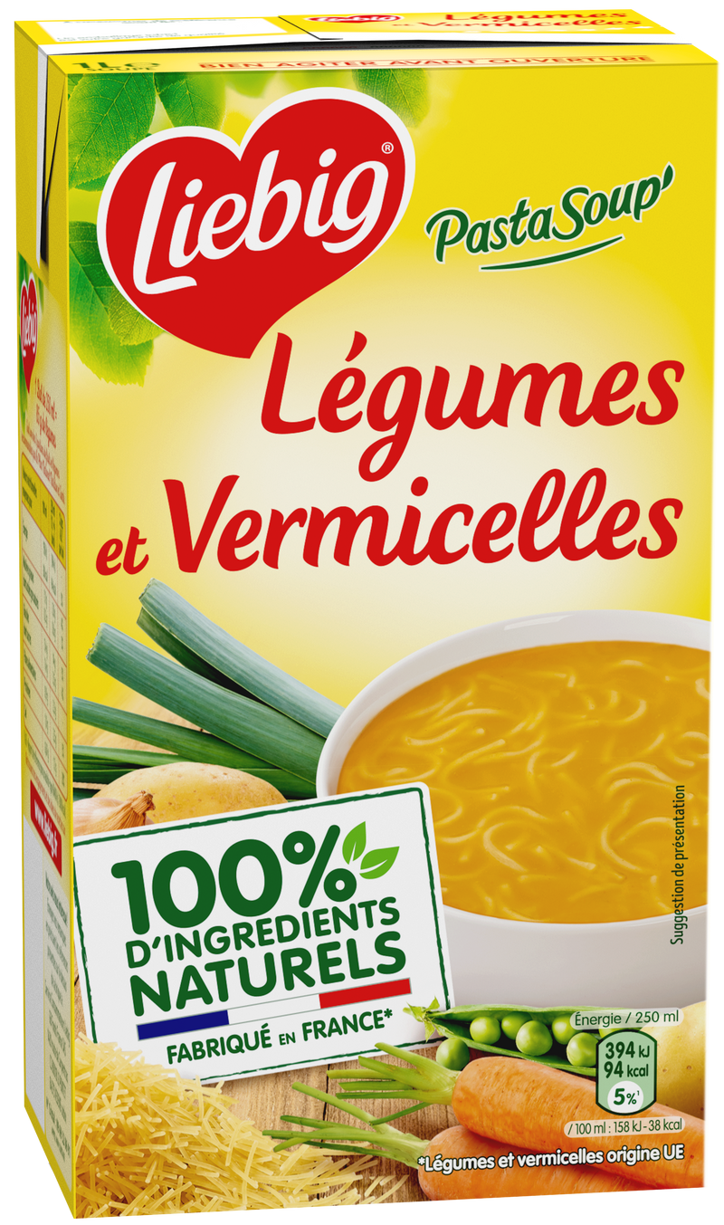 Pursoup légumes et vermicelles brick - Vegetable and vermicelli soup carton - Liébig ,2x30cl