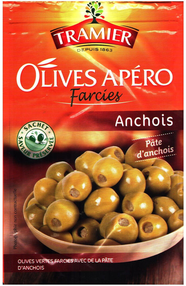 Tramier- green olives filled with anchovies, 120g - Le Vacherin Deli