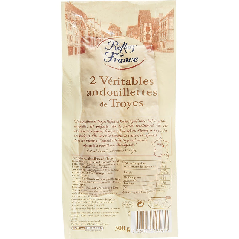 Andouillettes de Troyes a' griller x 2, Andouillettes x 2 ( chitterlings) for the grill - Reflets de France, 300g