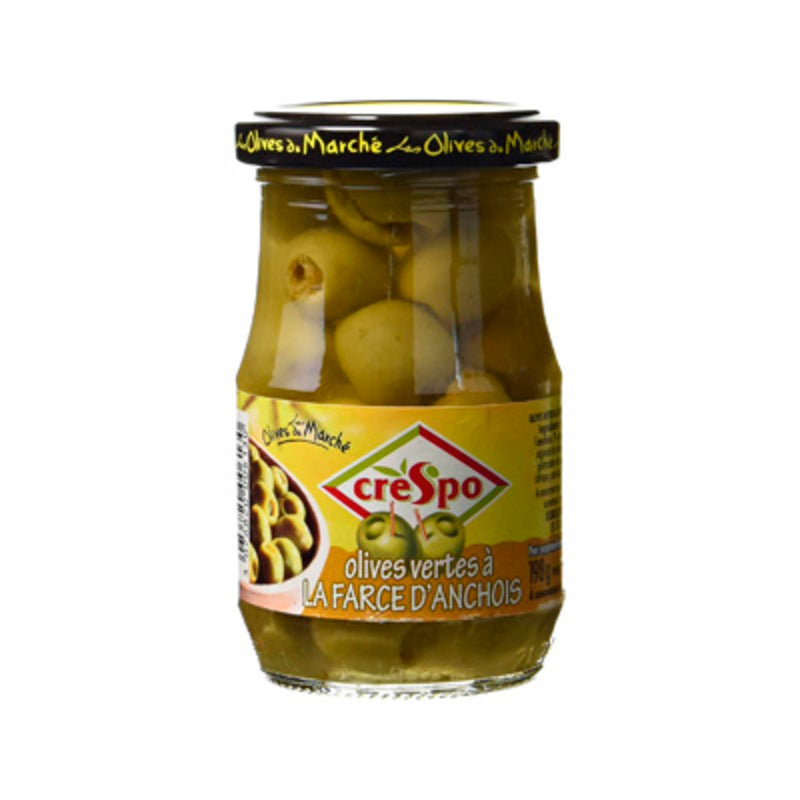 Olives vertes farce d'anchois bocal - Green olives stuffed with anchovies glass jar - Crespo, 120g