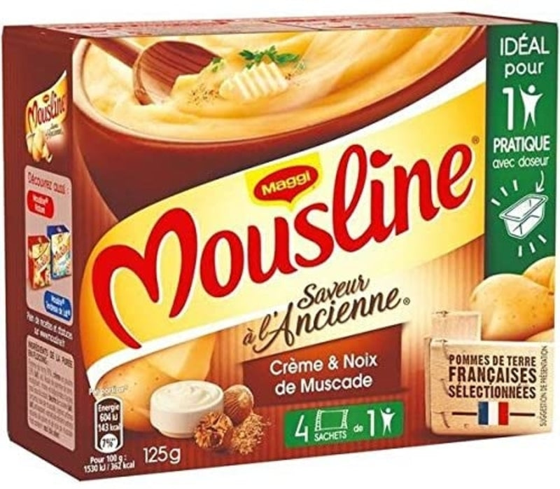 Purée Mousseline à l'ancienne sachets individuels - Instant mashed potato with milk (4 individual packs) - Maggi, 4 x 31.25g
