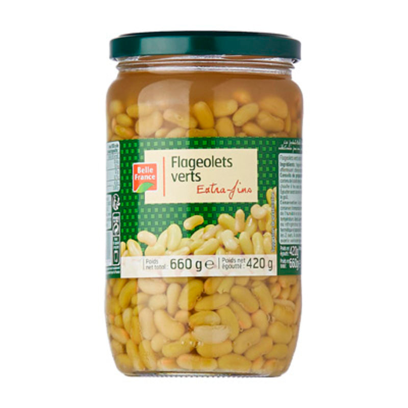 Flageolets extra fins bocal - Glass jar Flageolets beans - Belle France,660g