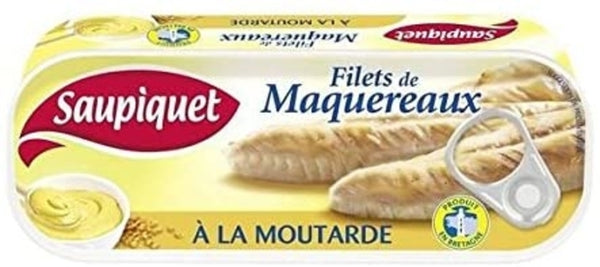 Filets de maquereaux à la moutarde - Mackerel fillets in mustard sauce - Saupiquet, 169g