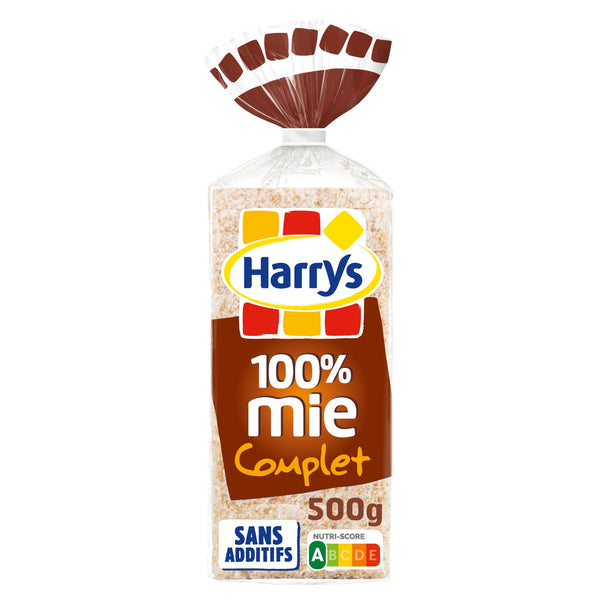 Pain de mie complet sans croute 20 petites tranches - Wholemeal crustless loaf x 20 slices - Harry's - 500g