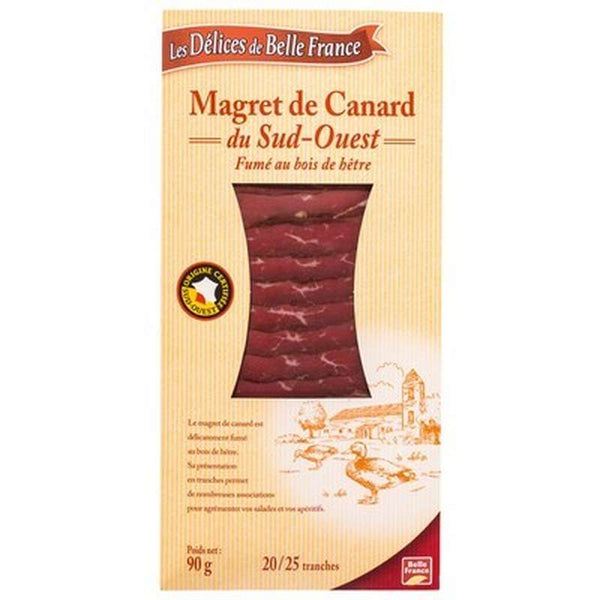 Magret de canard fumé tranché 18/20 tranches environ - Smoked duck breast 18/20 slices - Belle France, 90g