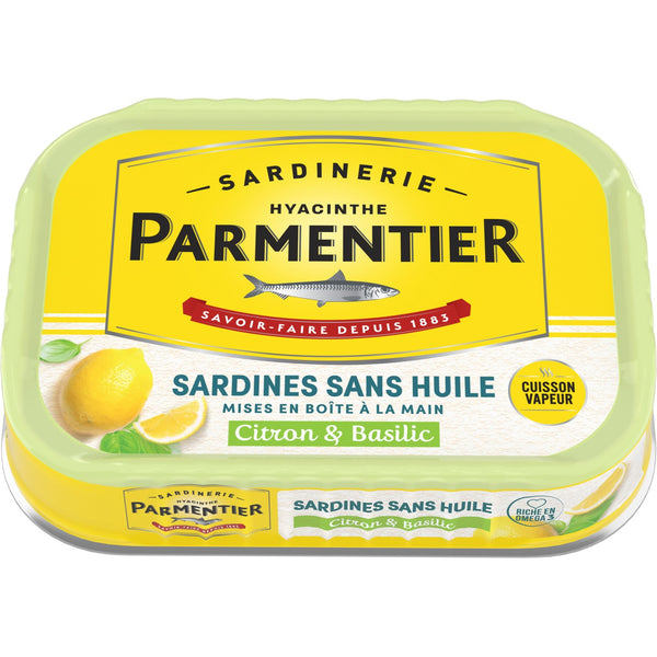 Sardines sans huile citron & basilic - Marinated sardines basil and lemon (no oil) - Parmentier 135g