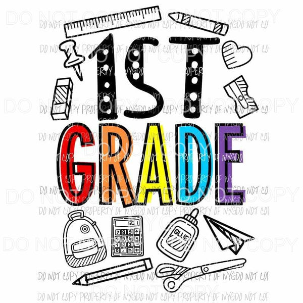 1st Grade school doodle supplies Sublimation transfers Heat Transfer