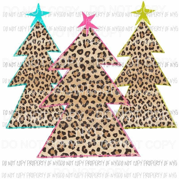 3 leopard christmas trees Sublimation transfers Heat Transfer