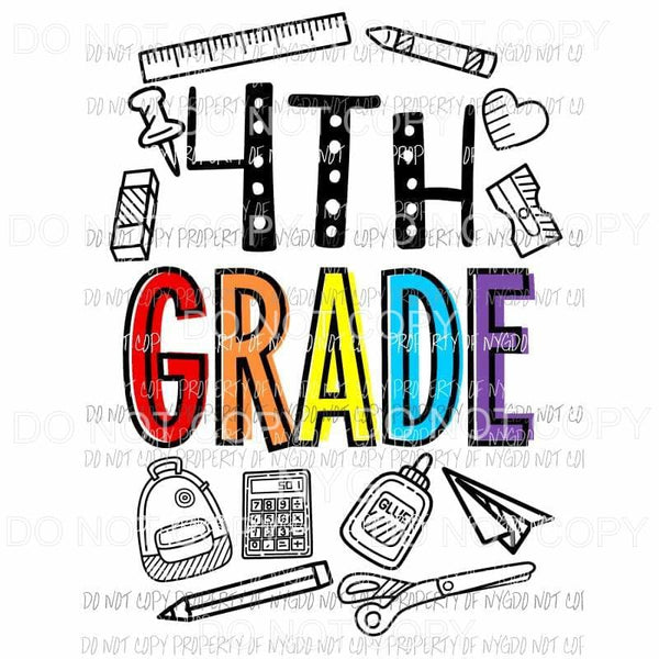 4th Grade school doodle supplies Sublimation transfers Heat Transfer