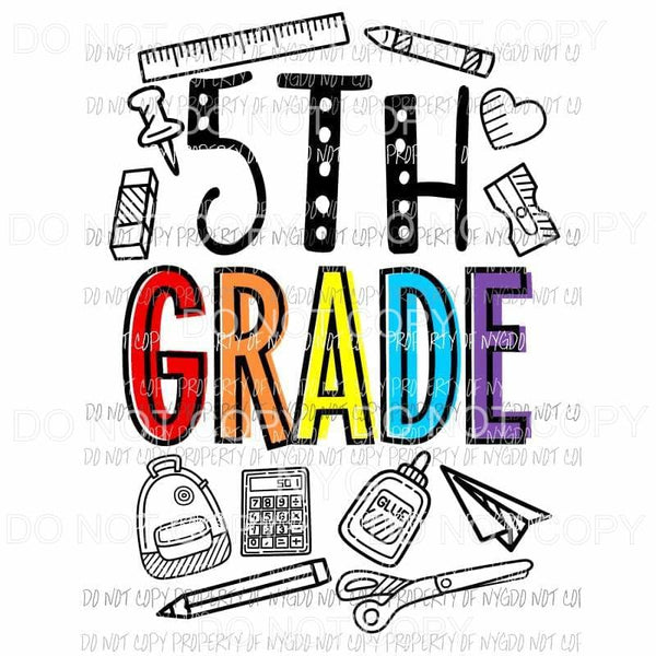 5th Grade school doodle supplies Sublimation transfers Heat Transfer