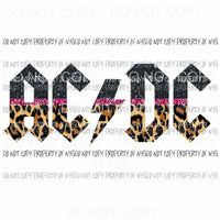 ACDC black pink leopard ac dc rock band Sublimation transfers Heat Transfer