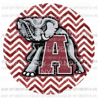 Alabama Crimson Roll Tide chevron circle Sublimation transfers Heat Transfer