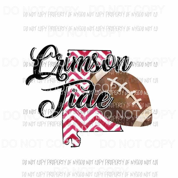 Alabama Crimson Tide football chevron state Sublimation transfers Heat Transfer