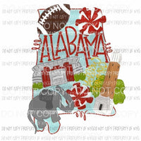 Alabama hand Drawn #2 Sublimation transfers Heat Transfer