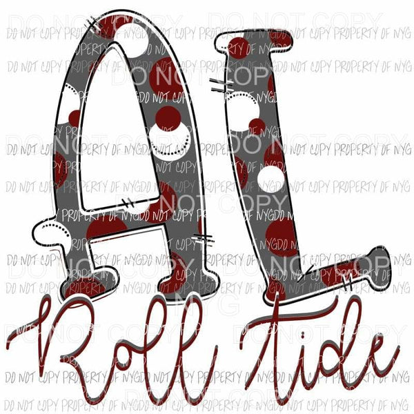Alabama Roll Tide hand drawn Sublimation transfers Heat Transfer