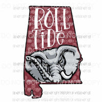 Alabama Rolltide Crimson state Sublimation transfers Heat Transfer