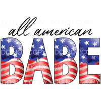 All American Babe flag Sublimation transfers - Heat Transfer