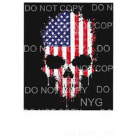 American Flag SKULL Sublimation transfers - Heat Transfer