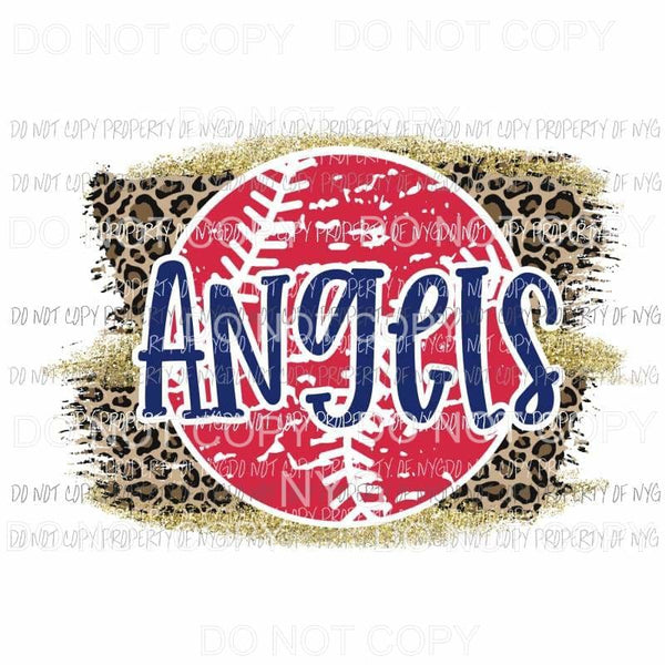 Angels baseball leopard Sublimation transfers Heat Transfer