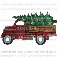 Antique Truck red Christmas Tree # 1 Sublimation transfers Heat Transfer