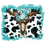 Aqua Cow Print Skull Flowers Sublimation transfers - Heat