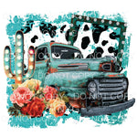 Aqua Cow Print Vintage Truck Sublimation transfers - Heat