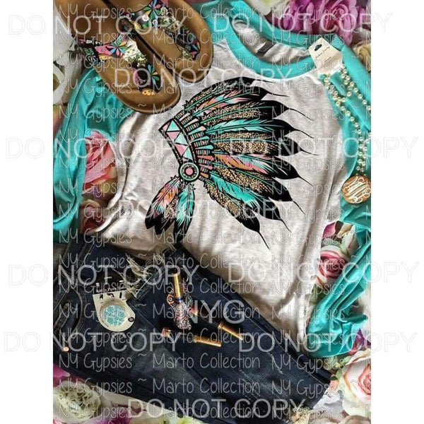 Aqua Head Dress Screen Print can go on any fabric any color