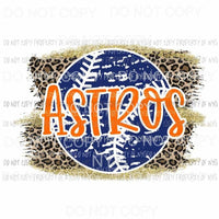 Astros baseball leopard Sublimation transfers Heat Transfer