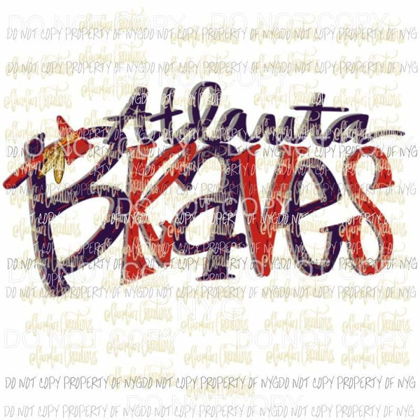 Atlanta Braves Hand Drawn Sublimation transfers Heat Transfer