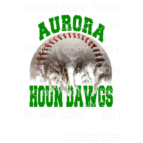 Aurora Houn Dawgs Baseball Green Sublimation transfers -