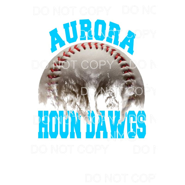 Aurora Houn Dawgs Baseball Light Blue Sublimation transfers