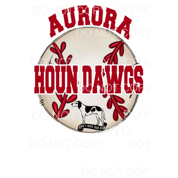 Aurora Houn Dawgs Baseball Mom Red Sublimation transfers -