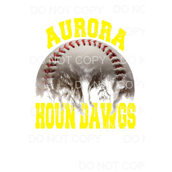 Aurora Houn Dawgs Baseball Yellow Sublimation transfers -