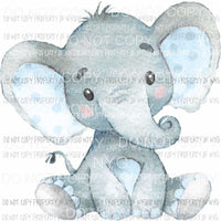 Baby Elephant blue watercolor Sublimation transfers Heat Transfer