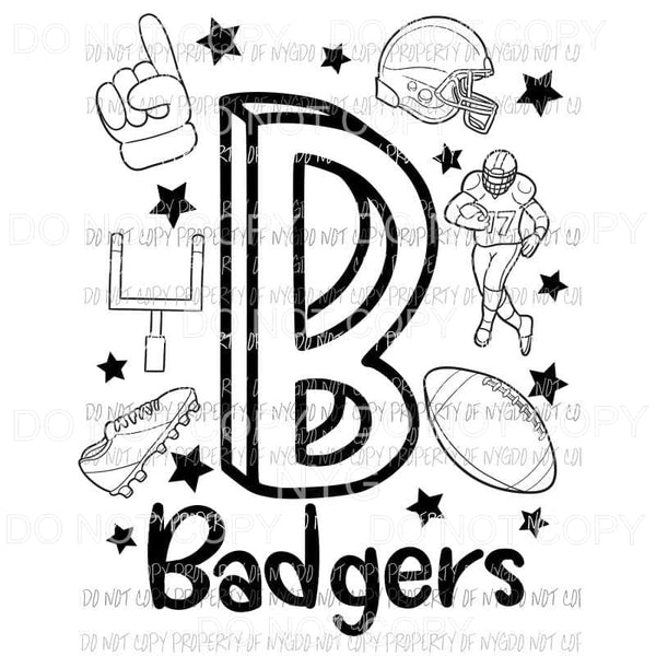 Badgers football spirit doodle Sublimation transfers Heat Transfer