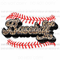 Baseball leopard red laces Sublimation transfers Heat Transfer