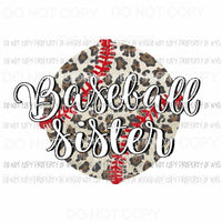 Baseball Sister #2 brown leopard red stitching Sublimation transfers Heat Transfer