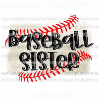 Baseball Sister #3 brushstroke red stitching Sublimation transfers Heat Transfer