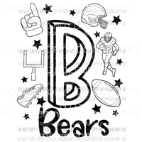 Bears football spirit doodle Sublimation transfers Heat Transfer