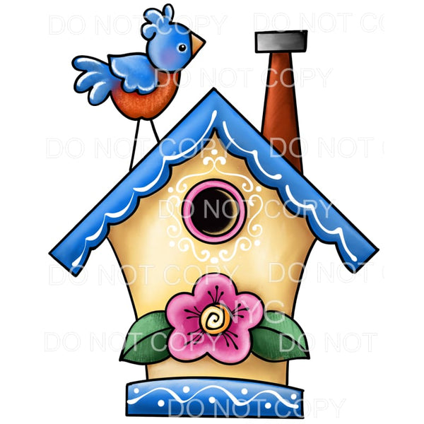 Birdhouse with Bluebird On Top Sublimation transfers - Heat