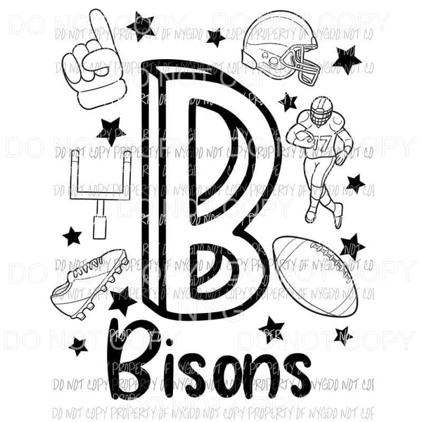 Bisons football spirit doodle Sublimation transfers Heat Transfer