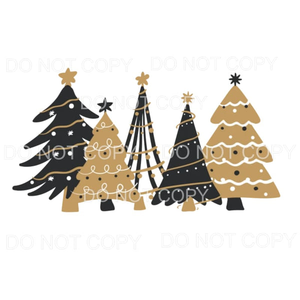 Black Gold Christmas Trees Sublimation transfers - Heat