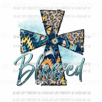 Blessed Cross tribal leopard print Sublimation transfers Heat Transfer