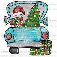 Blue Christmas Truck with santa hat Sublimation transfers Heat Transfer