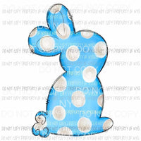 Blue Polka Dot Bunny #1 Sublimation transfers Heat Transfer