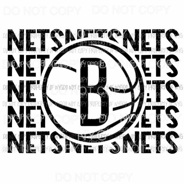 Brooklyn Nets stacked Sublimation transfers Heat Transfer