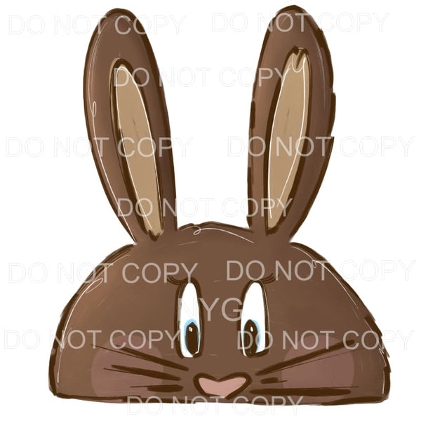 Brown Half Bunny Face Boy Sublimation transfers - Heat